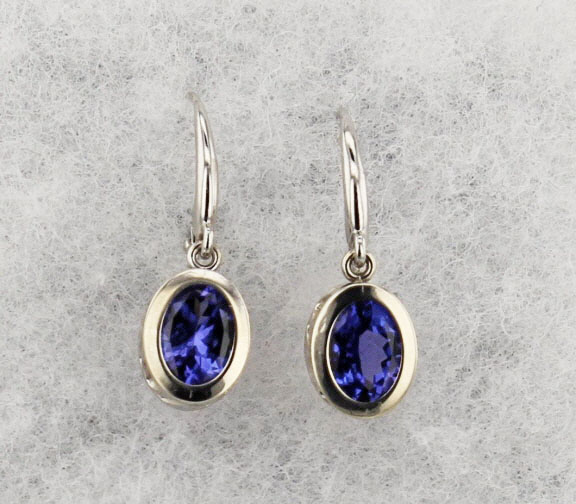 14k White Gold And Tanzanite Earrings