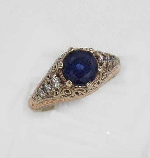 14k White w Rose Gold Sapphire Ring
