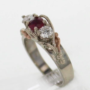 14k White w Rose Gold Ruby & Diamond Ring