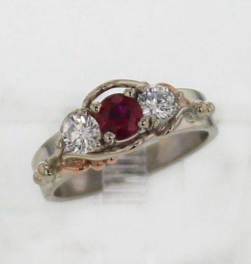 14k White w Rose Gold Ruby and Diamond Ring 2579