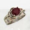 14k White w Rose Gold Ruby Ring 999