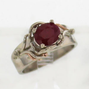 14k White w Rose Gold Ruby Ring 999