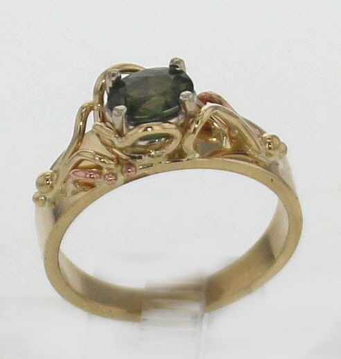 14k Yellow Gold and Natural Green Sapphire 699