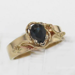 14k Yellow Gold and Natural Pear Cut Sapphire Ring 739