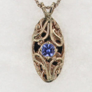 14k White w Rose Gold Sapphire Pendant
