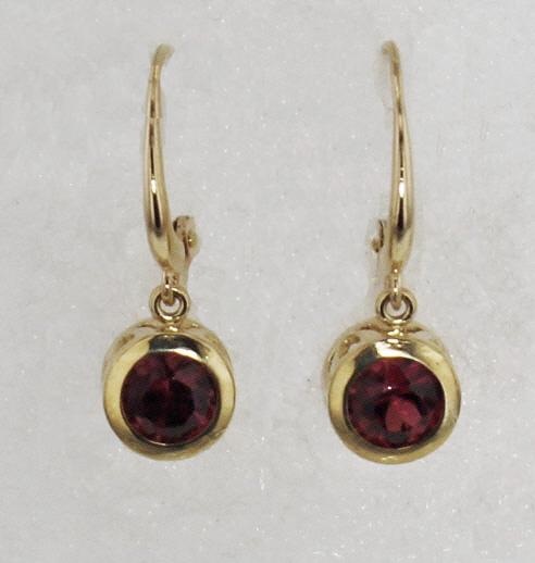 14k Yellow Gold And Garnet Earrings