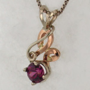 14k White w Rose Gold and Garnet Pendant $569