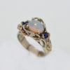 14k Solid White w Rose Gold Natural Opal and Sapphire Ring 857