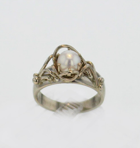 14k White Gold and Akoya Pearl Ring, Handcrafted $599