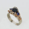 14k White with Rose Gold Black Pearl and Sapphire Ring
