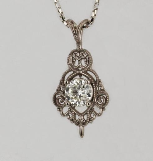 e1ffa0530c36d 14k White Gold and Diamond Pendant