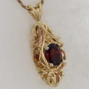14k Yellow with Rose Gold Handcrfted Garnet Pendant $627