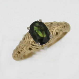 14k Yellow Gold Handcrafted Setting with Natural Green Brilliant Oval Cut Sapphire $887