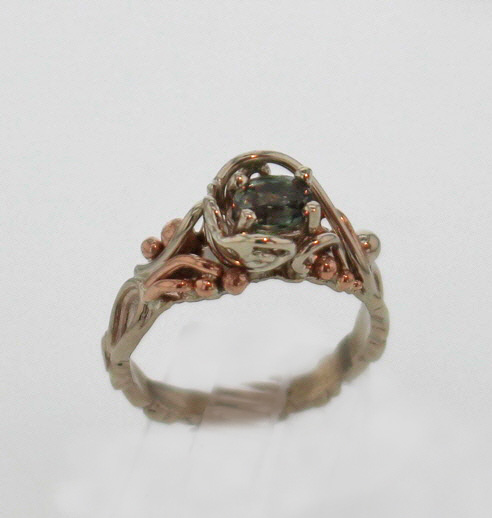 14k White w Rose Gold and Natural Alexandrite Ring