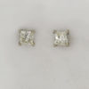 14k White Gold and Diamond Princess Cut Post Earrings