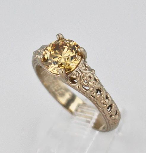 14k White Gold And Chocolate Diamond Ring