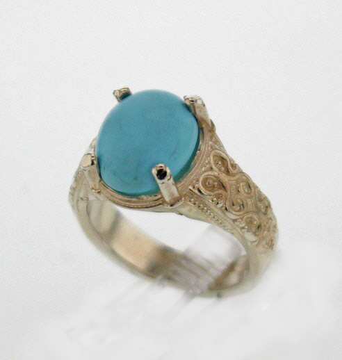 Sterling Silver and Natural Turquoise Rinng