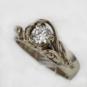 14k White Gold and European Cut Diamond 0.52 Carat Diamond Ring $1,969