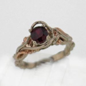 14k w Rose Gold and Pyrope Garnet Ring 599