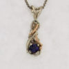 14k White w Rose Gold and Natural Sapphire Pendant