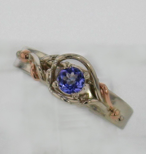 14k White w Rose Gold and Natural Tanzanite Ring $467