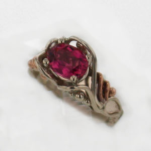14k White Gold and Natural Pink Tourmaline Ring