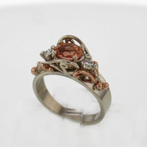 14k White w Rose Gold PeachPink Imperial Topaz and Diamond Ring $1,497