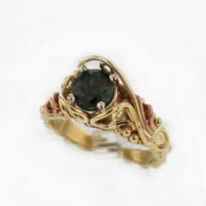 14k Yellow Gold w Green Tourmaline 869