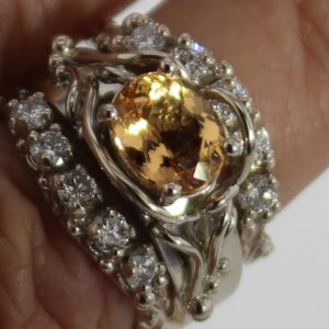 Golden Topaz w Diamond Bands, Bands Sold Seperately