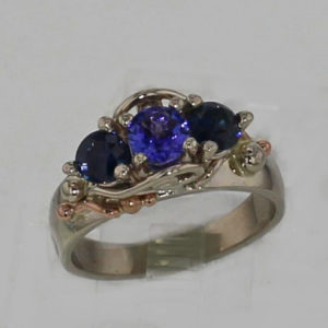 14k White w Rose Gold Natural Tanzanite and Sapphire Ring $1,149
