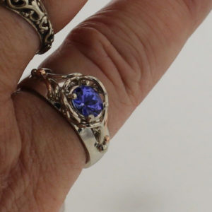 14k White w Rose Gold Handcrafted Natural Tanzanite Ring