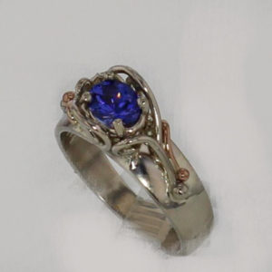 14k White w Rose Gold Natural Tanzanite Ring