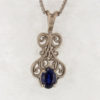 14k White Gold and Natural Sapphire Pendant $627