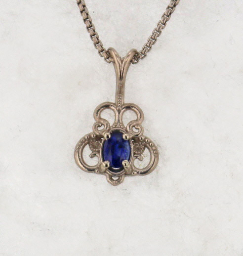 14k White Gold and Natural Sapphire Pendant $347