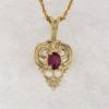 14k Yellow Gold and Natural Ruby Pendant