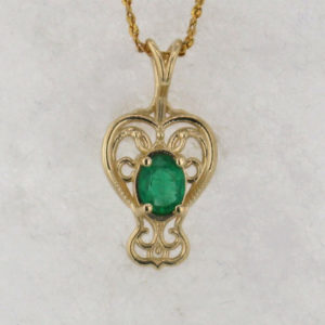 14k Yellow Gold Filigree Pendant Setting w Natural Emerald