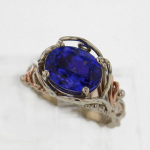 14k White w Rose Gold and Natural 5.56 ct Oval Tanzanite Ring