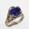 14k White w Rose Gold Natural 5.56 ct Oval Tanzanite Ring $3,259
