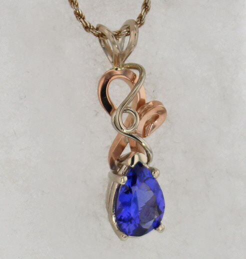 14k White w Rose Gold Natural Pear Cut Tanzanite in Handcrafted Setting $1,649
