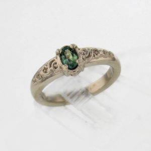 Solid Gold and Natural Alexandrite Ring