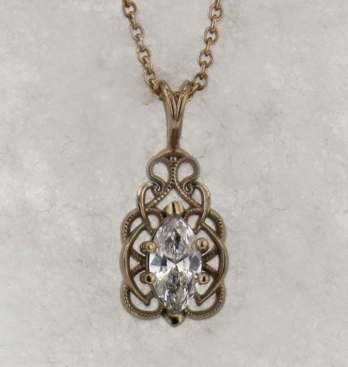 14k White Gold and Diamond Pendant $1,169