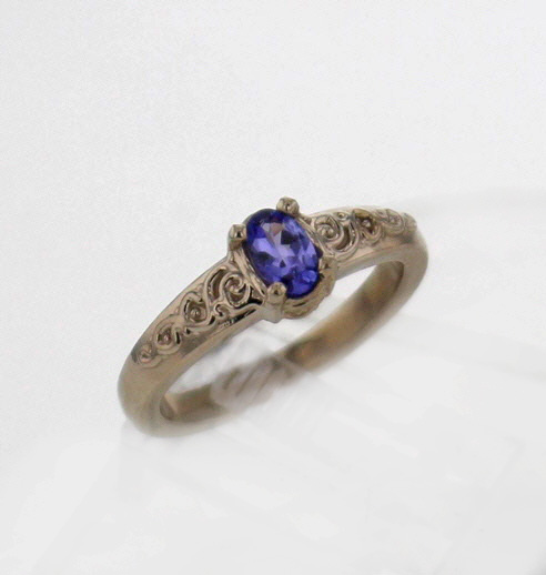 14k White Gold and Tanzanite Ring $549