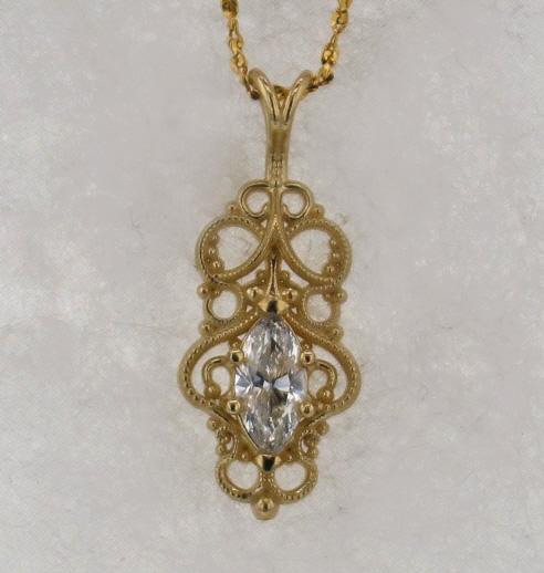 14k Yellow Gold and Natural Diamond Pendant $1,169