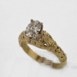 14k Yellow w White Gold Diamond Ring $3,277