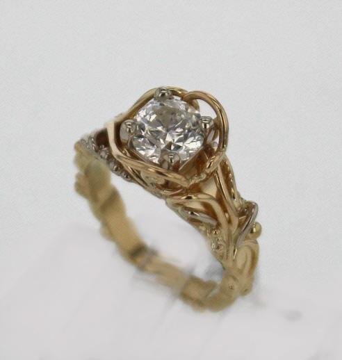 14k Yellow Gold and 1.51 Carat Diamond Ring