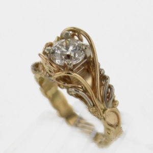14k Yellow Gold w White Gold and Diamond Ring