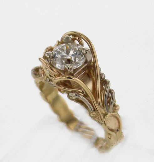 14k Yellow Gold w White Gold and Diamond Ring
