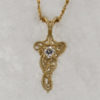 14k Yellow Gold and European Cut Diamond Pendant $687