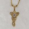 14k Yellow Gold and European Cut Diamond Pendant $687
