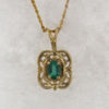 14k Yellow Gold and Oval Cut Natural Emerald Pendant